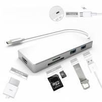 Rozbočovač/hub/rozvodka zUSB-C na porty HDMI + 3× USB 3.0 + čítačka SD kariet pre MacBook