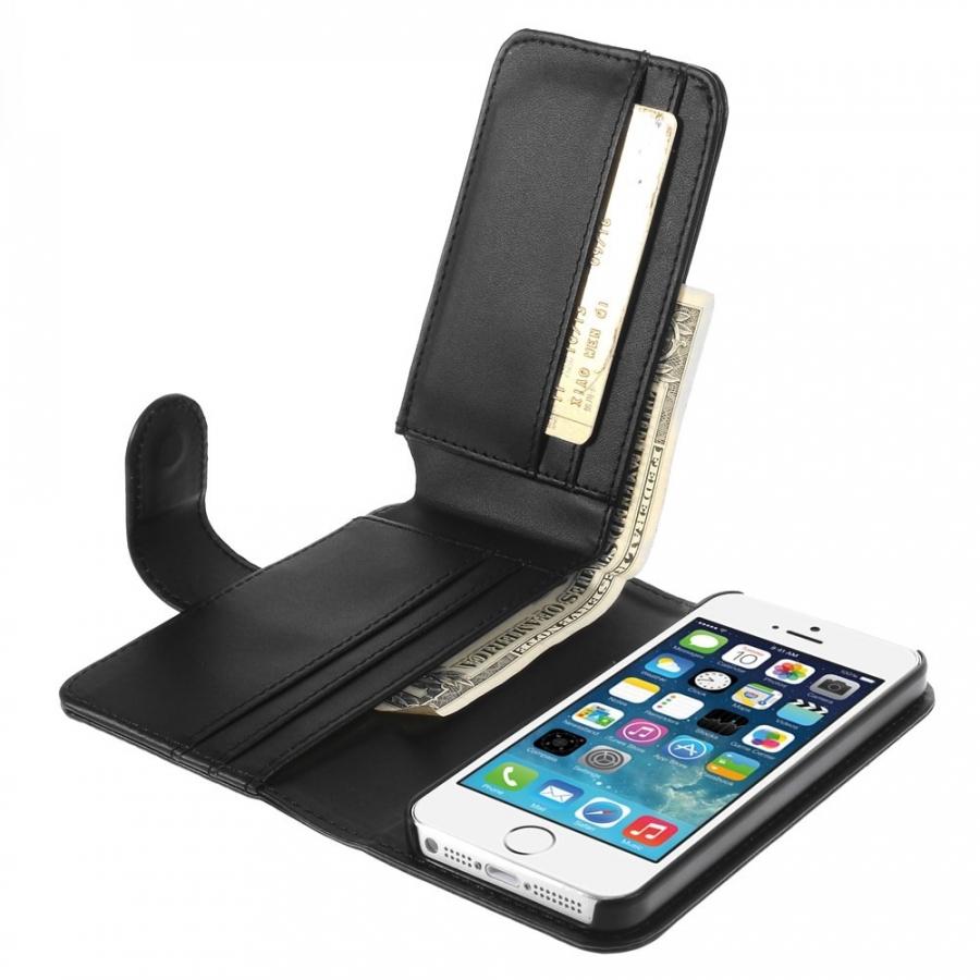 Kožené puzdro so slotmi na karty pre Apple iPhone 5 5S SE - čierne ... 94ff5e9b820