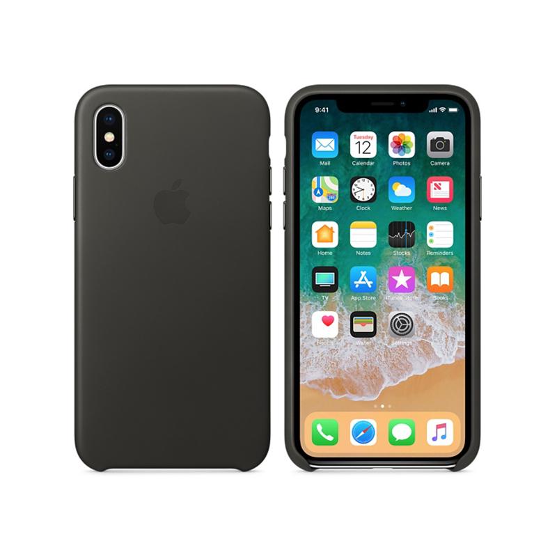 Originálne kožené puzdro pre Apple iPhone XS   iPhone X – uhľovo sivé ... b92b3da3776