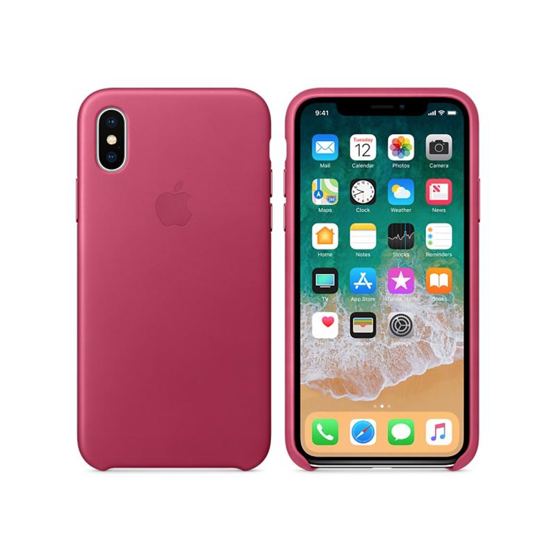 Originálne kožené puzdro pre Apple iPhone XS   iPhone X – fuchsiové ... fc7a64c4c74