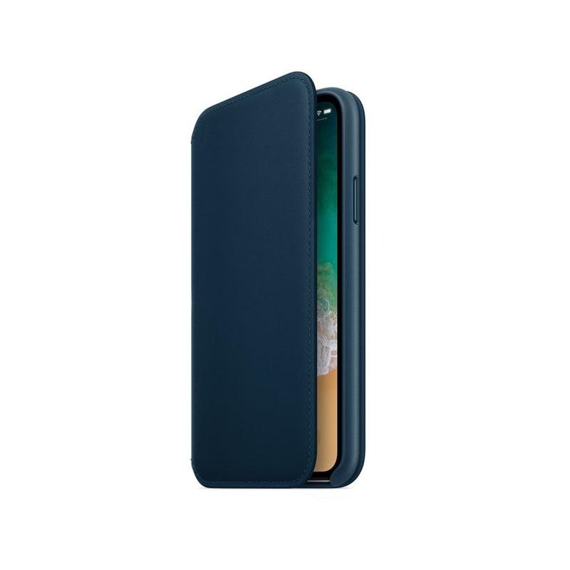 Originálne kožené puzdro Folio pre Apple iPhone XS   iPhone X – vesmírne  modré ... d5f116ecb93
