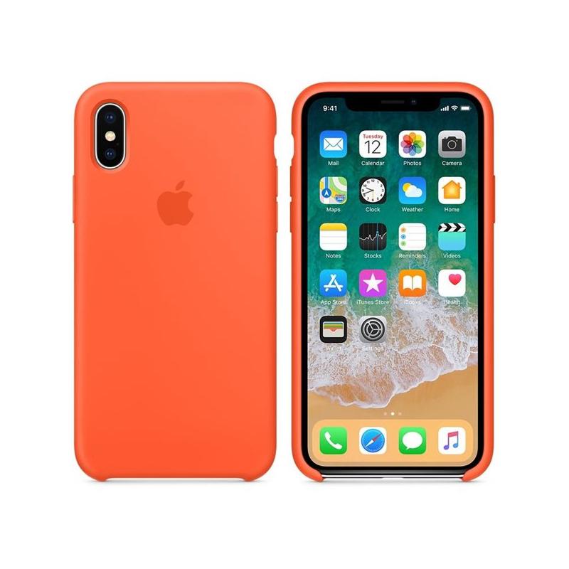 Originálny silikónový kryt pre Apple iPhone XS   iPhone X – paprikovo  oranžový ... 2c479b3ad26