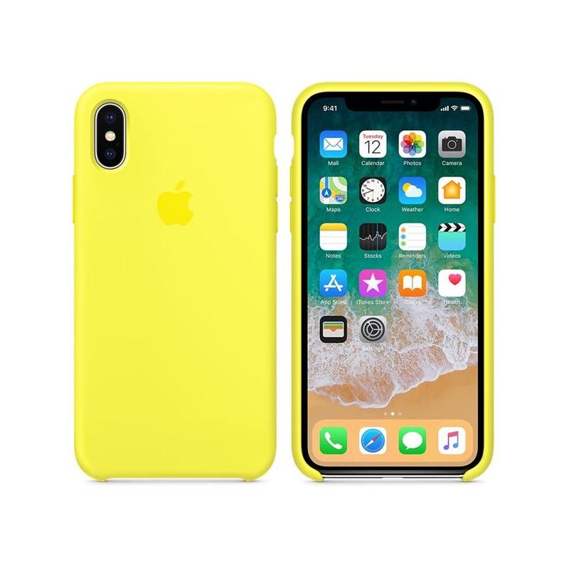Originálny silikónový kryt pre Apple iPhone XS   iPhone X – žiarivo žltý ... c04ab0745a5