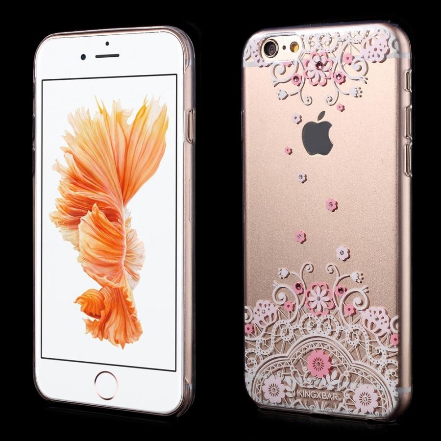KINGXBAR plastový kryt na Apple iPhone 6 6S - ružový s kvetinami Swarovski  ... 17797183292