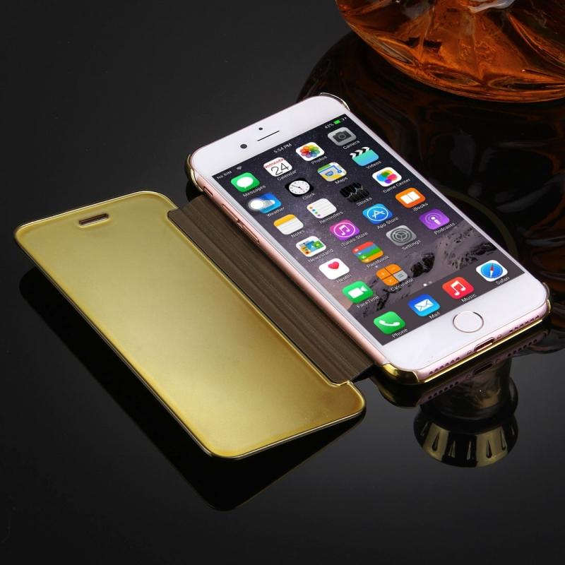 36db2a456 ... Zrkadlové otváracie / flipové púzdro pre Apple iPhone 8 / 7 - zlaté ...