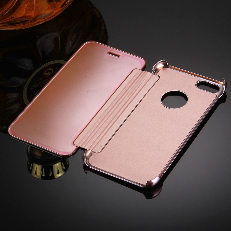 fe7559bb3 ... Zrkadlové otváracie / flipové púzdro pre Apple iPhone 8 / 7 - ružovo- zlaté ...