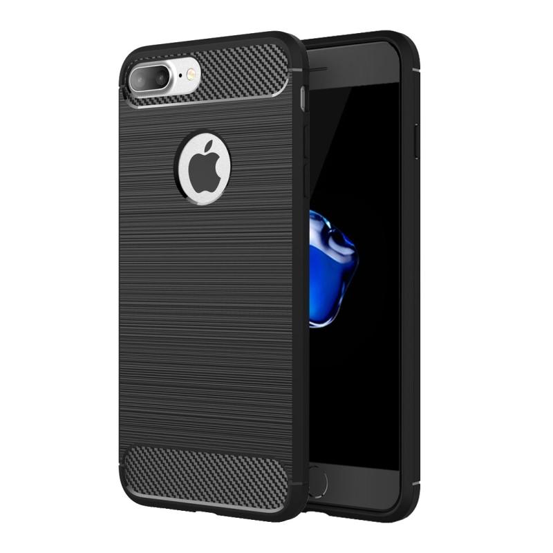 Odolný plastový kryt v štýle brúseného karbónu pre Apple iPhone 8 Plus   7  Plus - čierny 269da4b01bf